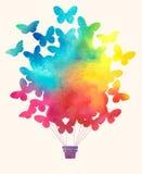 Εκλεκτής ποιότητας μπαλόνι ζεστού αέρα πεταλούδων Watercolor Εορταστικό υπόβαθρο εορτασμού με τα μπαλόνια Στοκ Εικόνες