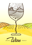 Διανυσματική απεικόνιση watercolor του σταφυλιού αμπέλων και του αγροτικού τομέα στο γυαλί κρασιού Έννοια για τα οργανικά προϊόντ Στοκ εικόνα με δικαίωμα ελεύθερης χρήσης
