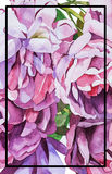 Watercolor abstrackt flower background whith lettering Stock Images