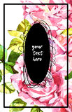Watercolor abstrackt flower background whith lettering Royalty Free Stock Image