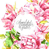 Watercolor abstrackt flower background whith lettering Royalty Free Stock Photos