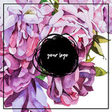 Watercolor abstrackt flower background whith lettering Stock Photos
