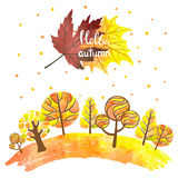 Watercolor abstract autumn forest background. Colorful trees and leaves. Hello autumn lettering. Vector illustration royalty free illustration