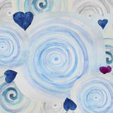 Watercolor abstract background with blue spiral swirls. And hearts Royalty Free Stock Photos
