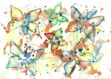 Watercolor abstract background with butterflies Royalty Free Stock Photos