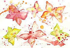 Watercolor abstract background with butterflies Royalty Free Stock Image