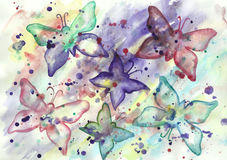 Watercolor abstract background with butterflies Stock Photo