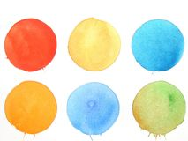 Watercolor abstract background circles. Colorful abstract watercolor background circles with red and blue royalty free illustration
