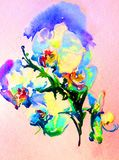 Watercolor abstract background floral  orchid flowers spring delicate beauty decoration hand beautiful wallpaper. Watercolor art abstract background bright Stock Image
