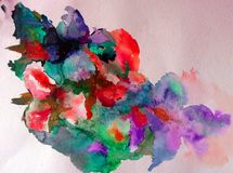 Watercolor abstract background floral pattern flowers orchid  wet wash blurred decoration hand beautiful wallpape. Watercolor art abstract background bright Royalty Free Stock Images