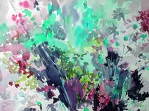Watercolor abstract background floral pattern wildflowers meadow fiel bright blurred textured decoration hand beautiful wallpaper. Watercolor art abstract Royalty Free Stock Photo