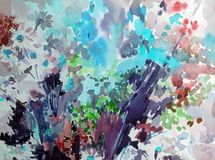 Watercolor abstract background floral pattern wildflowers meadow fiel bright blurred textured decoration hand beautiful wallpaper. Watercolor art abstract royalty free illustration