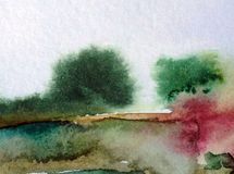 Watercolor abstract background landscape hill trees decoration hand beautiful wallpaper. Watercolor art abstract background bright dry brush textured decoration Stock Image