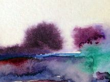 Watercolor abstract background landscape hill trees decoration hand beautiful wallpaper. Watercolor art abstract background bright dry brush textured decoration Stock Photography