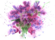 Watercolor abstract background , lilac- purple, with small patch. Es of green Stock Photo