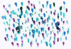 Watercolor abstract background with multicolor dots and stains stock illustration