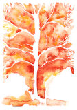 Watercolor abstract background , orange symbolizing autumn tree. With leafless leaves Stock Image