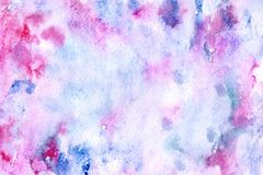 Watercolor abstract background. Abstract watercolor background for your design. Beautiful combination of pink and blue colors. Grunge light pink, purple and sky royalty free stock photos