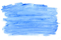 Watercolor abstract blue color paint stain isolated on a white background. Hand painting on paper stock illustration