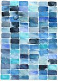 Watercolor abstract blue rectangles. Watercolor abstract painting of blue rectangles suitable for use as a textured background Royalty Free Stock Image