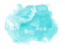 Watercolor. Abstract blue spot on white watercolor paper. Stock Photography