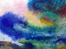 Watercolor abstract bright colorful textural background handmade . Painting of sky and clouds during sunset .Modern cosmic pattern. Watercolor abstract bright stock photo