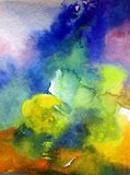 Watercolor abstract bright colorful textural background handmade . Painting of sky and clouds during sunset .Modern cosmic pattern. Watercolor abstract bright royalty free stock photos