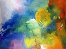 Watercolor abstract bright colorful textural background handmade . Painting of sky and clouds during sunset .Modern cosmic pattern. Watercolor abstract bright royalty free stock image