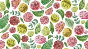 Watercolor abstract cartoon flowers pattern. Kids floral background Royalty Free Stock Photo