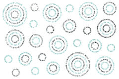 Watercolor abstract circles pattern. Watercolor blue and acryl silver abstract circles on white background vector illustration