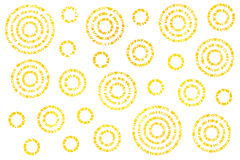 Watercolor abstract circles pattern. Watercolor yellow abstract circles on white background Stock Photos