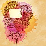 Watercolor abstract design with doodle heart Stock Photo