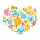 Watercolor abstract floral heart Royalty Free Stock Photography