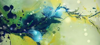 Watercolor abstract flowers. Image of flowers and plants in a watercolor abstract form royalty free illustration