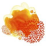 Watercolor abstract frame for autumn message Royalty Free Stock Images