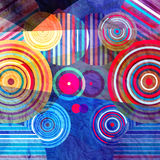 Watercolor abstract geometric background. Watercolor Retro abstract background with geometric circles Stock Illustration
