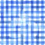 Blue plaid seamless pattern. Watercolor abstract geometric plaid seamless pattern. Watercolor blue trendy background Stock Images