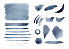 Watercolor abstract Gray Indigo splashes, background, cirkle, strokes and lines set. Watercolor paper grain texture. Brush shapes design elements vector illustration