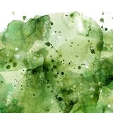 Watercolor abstract green splashes background. Hand drawn Royalty Free Stock Images