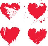 Watercolor abstract heart with splashes of blood. Vector set of red graphic abstract heart icons with ink blots, brush strokes, drops. Bloody hearts with spots Stock Photos