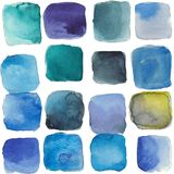 Watercolor abstract ice cubes, royalty free illustration