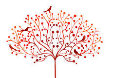 Watercolor abstract illustration of stylized autumn tree and birds Royalty Free Stock Image