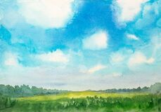 Watercolor abstract landscape with grass field and fluffy clouds