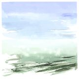Watercolor abstract landscape, hand drawn Stock Photo