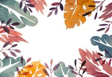 Watercolor abstract leaves frame, colorful floral frame isolated on white background.  stock illustration