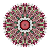 Watercolor abstract mandala. Circular pattern of feathers isolated on white background. Watercolor abstract mandala. Hand painted pattern with feathers in Stock Photography