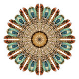 Watercolor abstract mandala. Circular pattern of feathers  on white background. Royalty Free Stock Photos