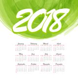 2018 watercolor abstract monthly calendar. Background. Office planner organizer schedule. Texture brush colorful frame backdrop splash design. Vector colored Stock Image