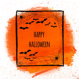 Watercolor abstract orange background.Happy Halloween banner wit Stock Image