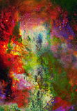 Watercolor abstract painting and computer collage. Color background with spots. Fire effect. Watercolor abstract painting and computer collage. Color background Royalty Free Stock Photos